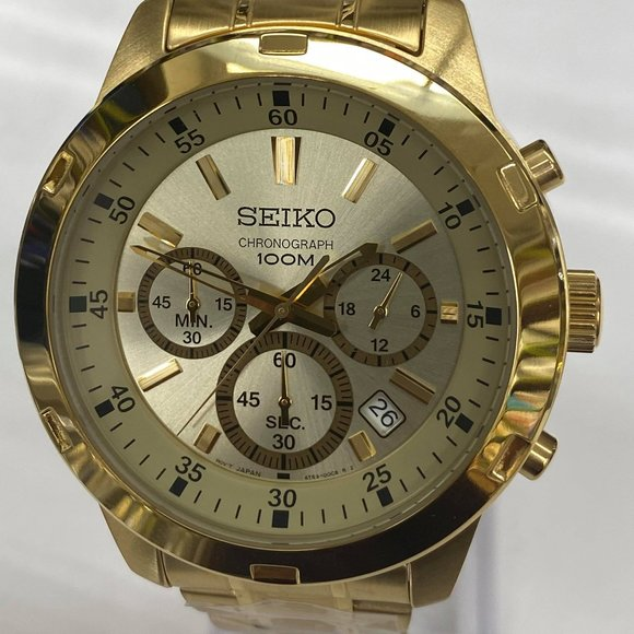 Seiko Chronograph Movement Watch in GoldTone New